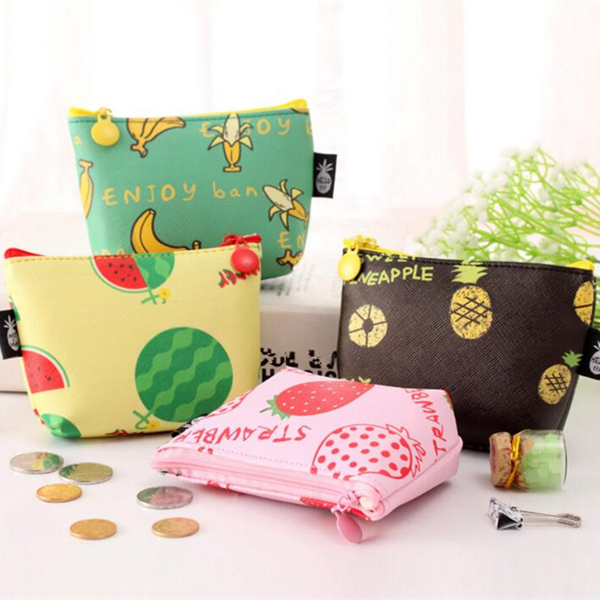 M080 Cute Cartoon CreativeFruit Family Waterproof Small Fresh Coin Purse Wallet Card Bag Girl Women Student Gift Wholesale hot small fresh forest female wind pastoral floral mini small school bag cute school bags coin purse student coin purse