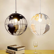 Modern Globe Pendant Lights Black/White Color Pendant Lamps for Bar/Restaurant Hollow Ball Ceiling Fixtures(China)