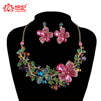 Rhinestone Jewelry sets Wedding Plants flower clolrful Necklace sets bridal Party Earrings sets Top quality Fashion Jewelry