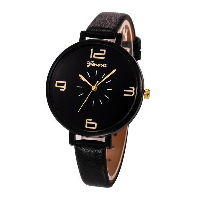 Geneva Design Women Watches 2017 Fashion Ladies Casual Faux Leather Quartz Wrist