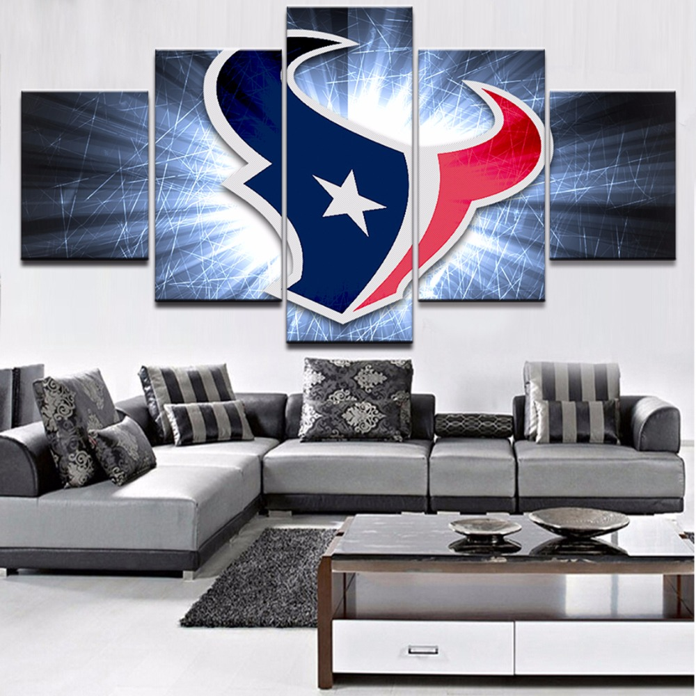 5 Piece Canvas Art Houston Texans Painting On Room Decoration Wall Pictures For Living