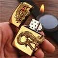 דרקון זהב רטרו מתנפח בוטאן מצית גז מציתי רוסיה גלגל מתכת סמל אש מעשן מתנה הטובה ביותר