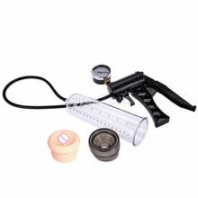 camaTech Male Pistol Penis Pump Enlarger Enlargement With Master Pressure Gauge Dildo Erection Enhancer Vacuum Sleeve Sex Toys