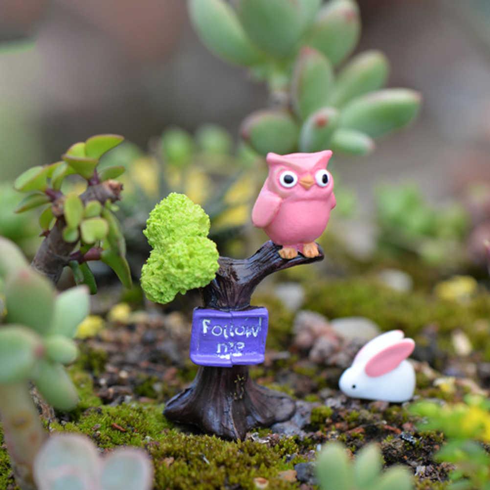 1Pc DIY Resin Owl & Tree Branch Mini Crafts Miniatures Fairy Garden Ornaments Bonsai Micro Landscape Garden Decoration