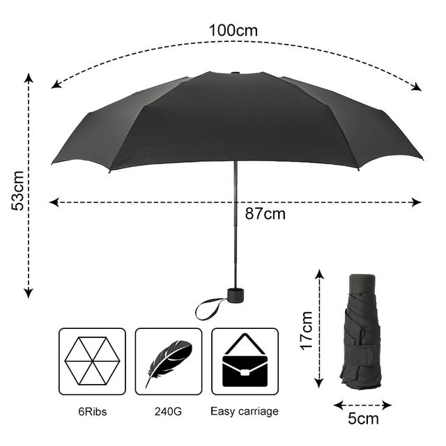 180g Small Fashion Folding Umbrella Rain Women Gift Men Mini Pocket Parasol Girls Anti-UV Waterproof Portable Travel UMBRELLAS