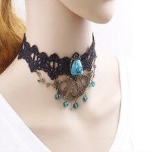 Vintage Collares Lace Gothic Kristall Choker Halsband Halskette Red Rose Flower Tattoo Schmuck Frauen