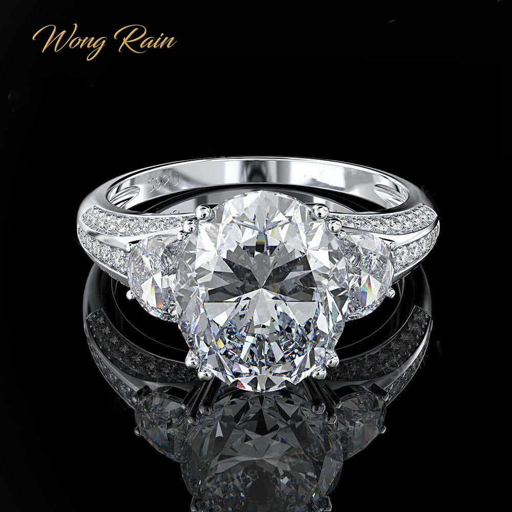 Wong Rain Trendy 925 Sterling Silver Created Moissanite Gemstone Birthstone Wedding Engagement Couple Ring Jewelry Wholesale