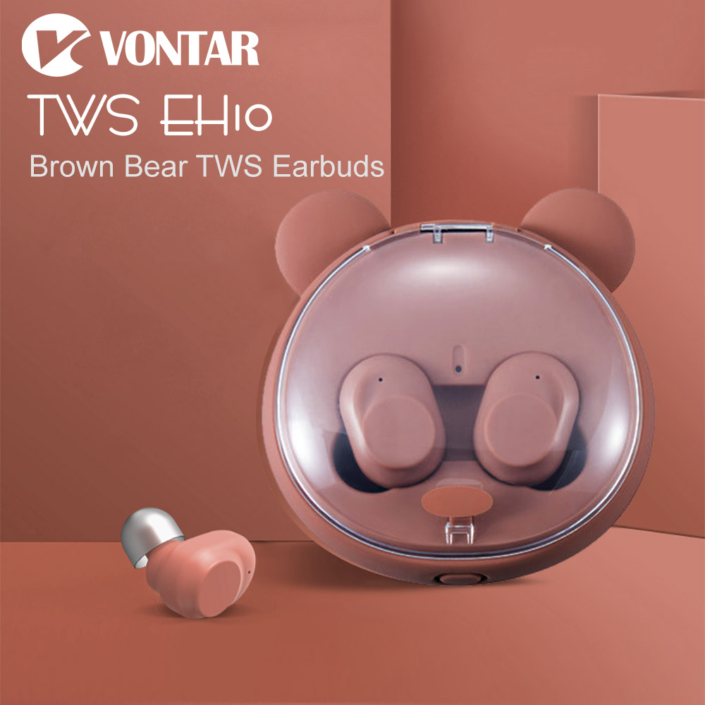 VONTAR EH10 Brown Bear Touch TWS Sweat proof Mini Wireless Earbuds Twins Earphone Bluetooth Headphones With Battery Case