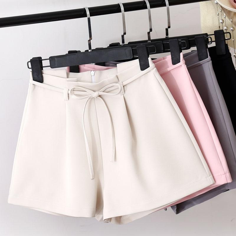 New Summer Autumn Fashion Bow Sashes High Waist   Shorts   Women Casual Slim Wide Leg   Shorts   Sweet Solid Thin Drawstring   Shorts   M453