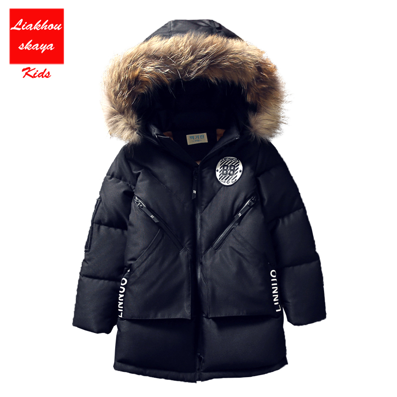 Liakhouskaya 2018 Big Size Children Boy Kid Winter Hooded Jacket Coat Kids Warm Outerwear Thick Fur Collar Long Down Coat 5-17 Y boy winter long warm down jacket boy simple fashion warm down jacket boy big fur collar thick coat boy solid color coat