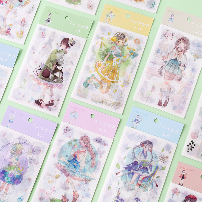 6pcs/lot December Girl Series Bullet Journal Decorative Stickers Scrapbooking Stick Label Diary Stationery Album Kawaii Stickers