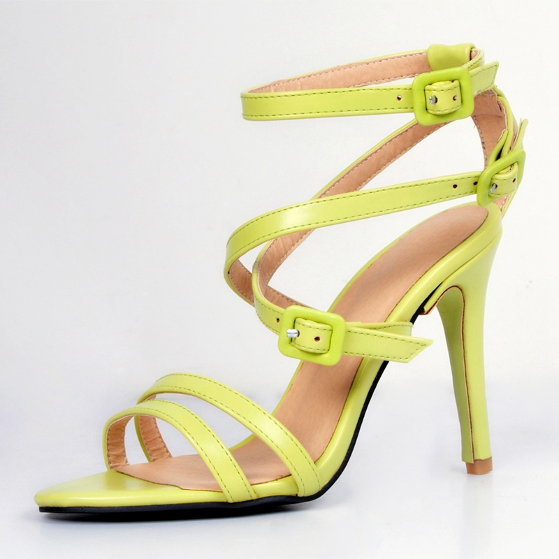 Yellow Pu Patent Leather Women Sandals High Heels Open Toe Stilettos Heels Plus Size 34-45 Gladiator Straps Sapato Feminino plus size pu leather panel plaid open front jacket