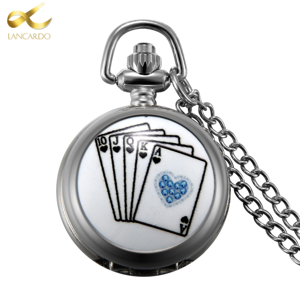 Lancardo Drop Shipping Product Silver Poker Pocket Watch Neckalce Pendant Watches Men Women Gift With Chain 2016 new arrival silver fashion pendant pocket watch with silver necklace chain free drop shipping