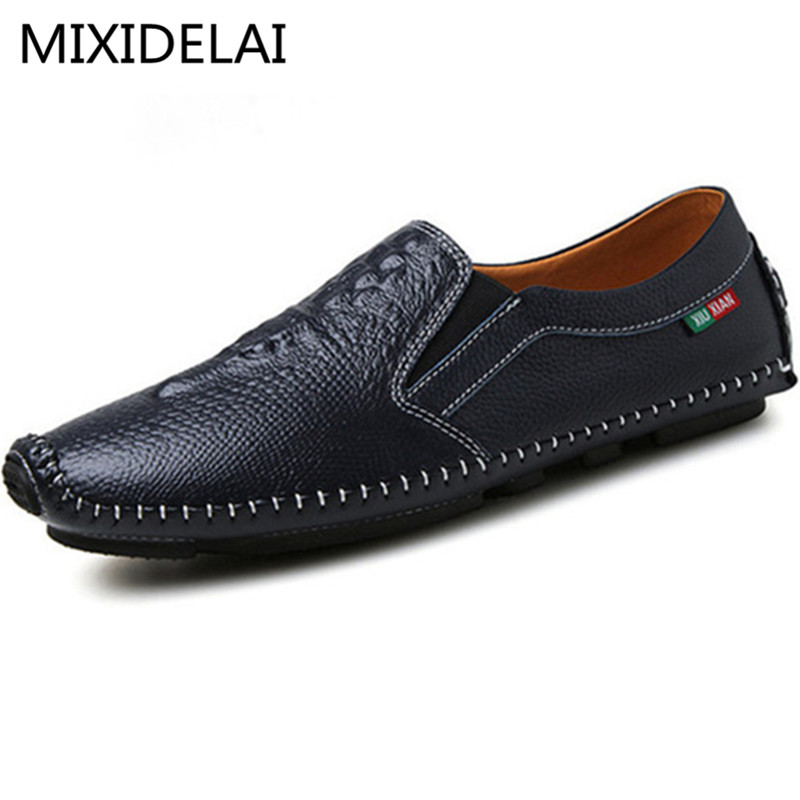 Handmade New 2017 Fashion Men'S Flats Men Genuine Leather Shoes Breathable Footwear Casual Driving Shoes Loafers zapatillas hombre 2017 fashion comfortable soft loafers genuine leather shoes men flats breathable casual footwear 2533408w