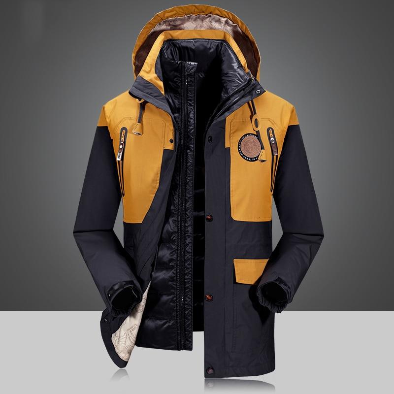 2 Piece Men's Winter duck down jacket man top quality detachable waterproof windbreaker outwear 90% white duck down coat men 4XL
