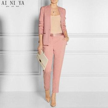 femenino conjunto de personalizado con de para de unidades mujer rosa blazer  de traje pantalones 2 oficina ... c48446d7ea7f