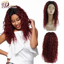 Pinshair Синтетические волосы на кружеве человеческих волос парики с закрытием 1B/99j Синтетические волосы на кружеве парик Ombre бразильская холодная завивка парики для черный Для женщин-Remy