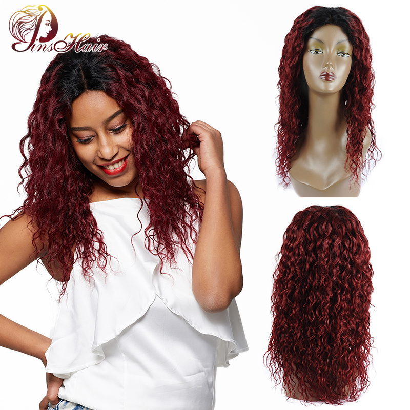 Pinshair Lace Front Human Hair Wigs With Closure 1B/99j Lace Front Wig Ombre Brazilian Water Wave Wigs For Black Women Non-Remy