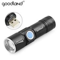Goodland-linterna LED recargable por USB para bicicleta, linterna LED de alta potencia Q5 con 3 modos de zoom
