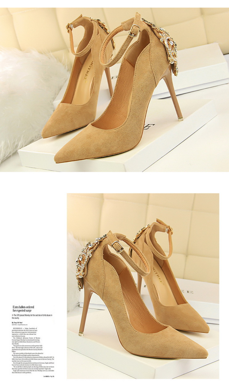 POADISFOO Women Elegant Crystal Pumps sexy thin shoes super high suede shallow mouth pointed rhinestone single shoe.DS-1717-5 13