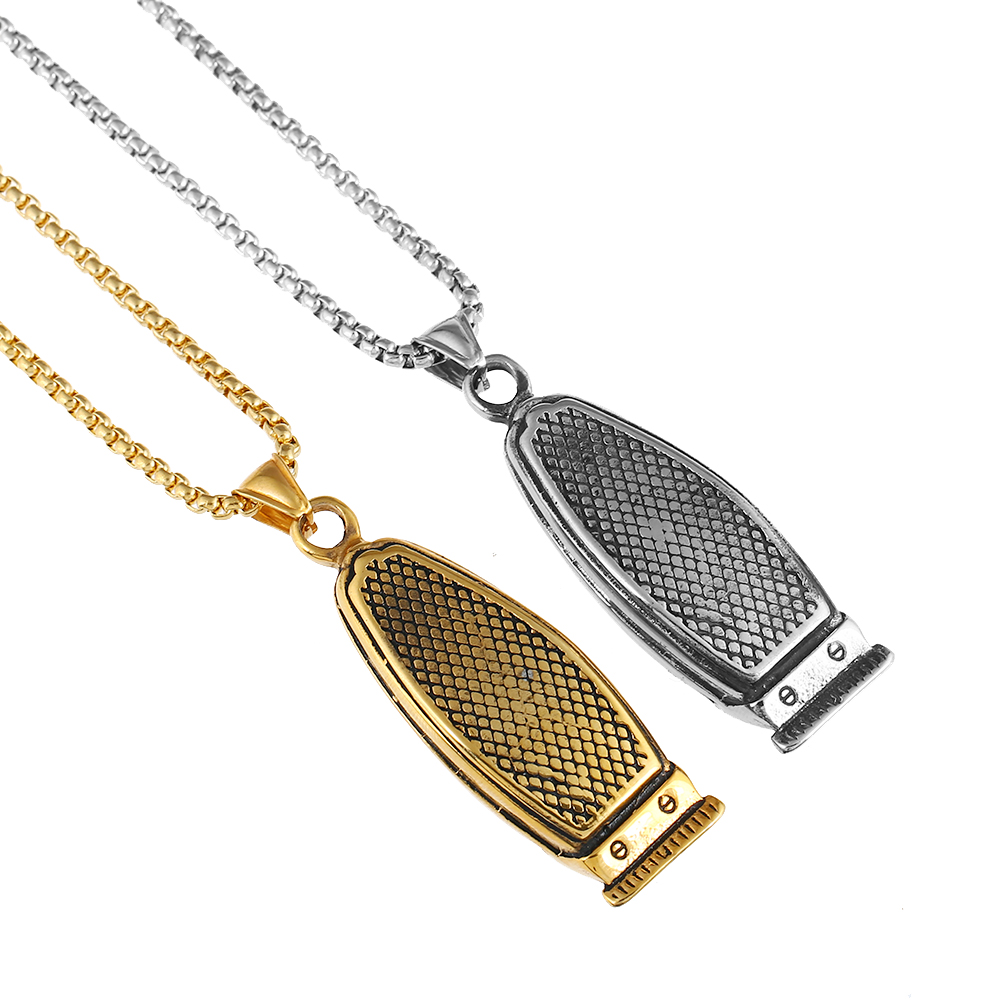 Hiphop/Rock Haircut Machine Barber Necklace Gold/Silver Stainless Steel Chain Pendants Necklaces for Men Charm Jewelry Gift