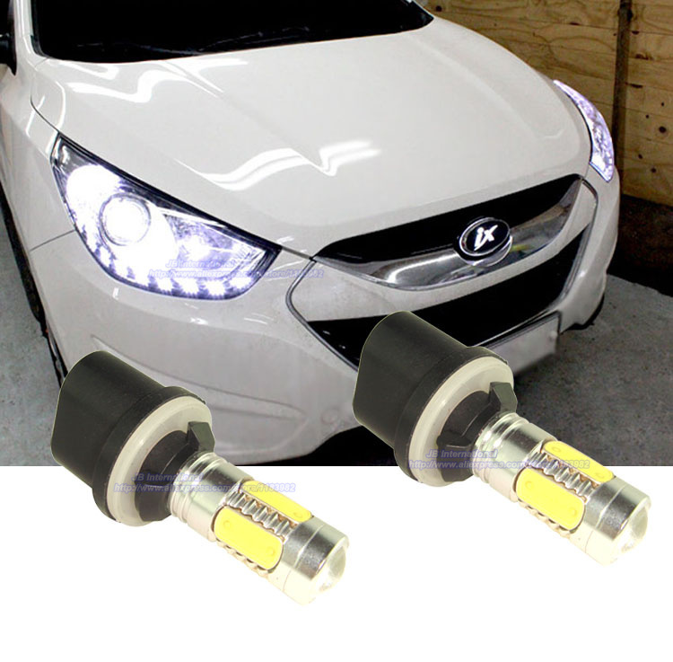 2pcsxCOB Canbus Front fog light for Hyundai Tucson ix35 2010 2011 2012 2013 2014 Car  LED Fog Light H27W/1 Bulb Kit Xenon White for hyundai ix35 tucson 2010 2011 2012 auto front