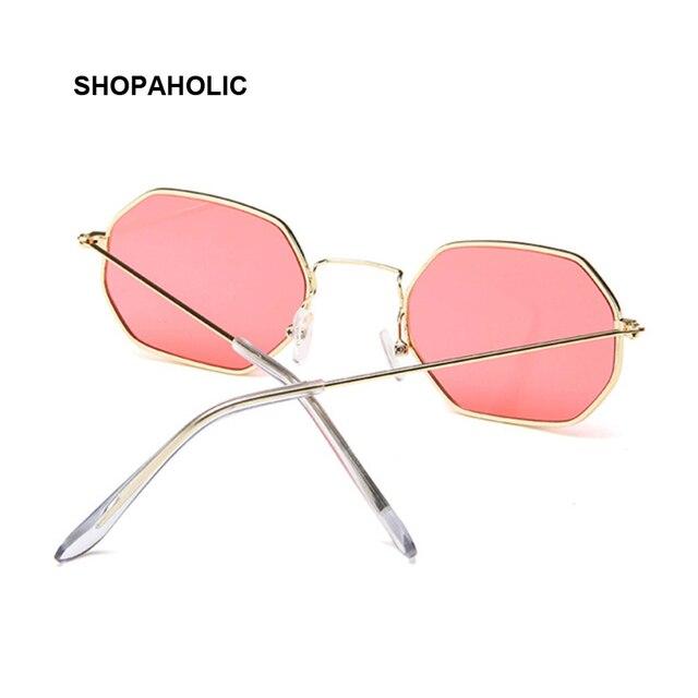 Fashion Sunglasses Women Brand Designer Small Frame Polygon Clear Lens Sunglasses Men Vintage Sun Glasses Hexagon Metal Frame 3