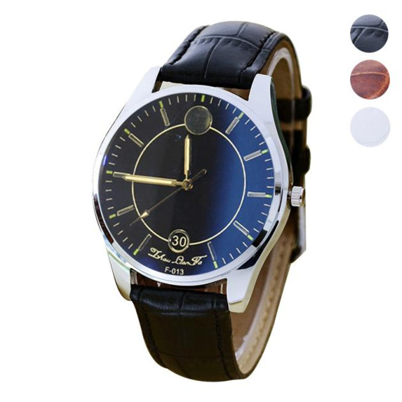 new Fashion style Watch men Casual Quartz Wrist Watch for mens faux Leather Wristwatch Gift wholesale