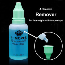 Top Quality 10 bottle 30ml adhesive blue remover for Skin tape hair/ PU skin weft/lace wig glue /toupee tape hair extensions(China)
