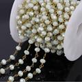Atacado 5 M moda fio enrolado cadeia rosário, Facetada leite branco contas de vidro de cristal cadeia colar pulseira descobertas jóias