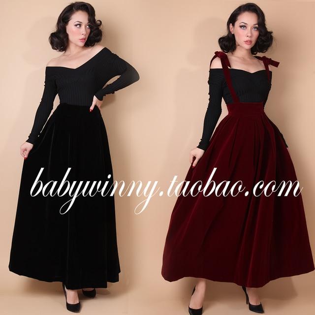 1fd9ac869c7 30 le palais vintage 50s velvet suspender braces black burgundy long skirt  plus size faldas jupe longue velour overalls skirts-in Skirts from Women s  ...