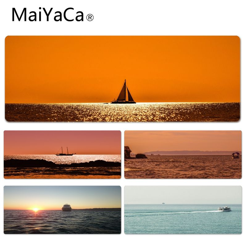 MaiYaCa New Design Boat Sailing in The Sunset and The Sea Computer Gaming Mousemats Size for 30x60cm 30x90cm Rubber Mouse Pad
