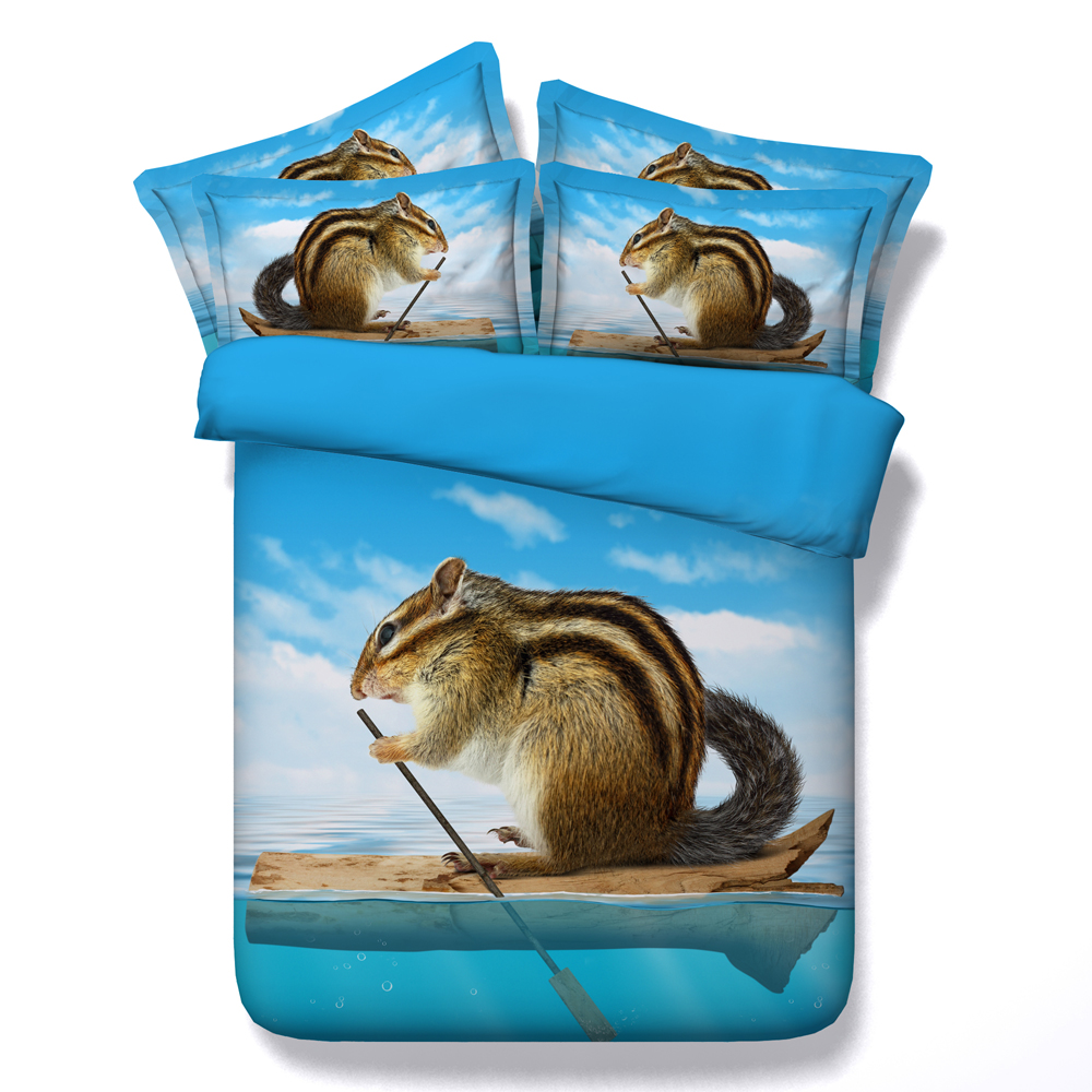 squirrel bedding set 3d animal printed duvet cover sheet bedspread twin full queen cal super king size Childrens home decor bluesquirrel bedding set 3d animal printed duvet cover sheet bedspread twin full queen cal super king size Childrens home decor blue