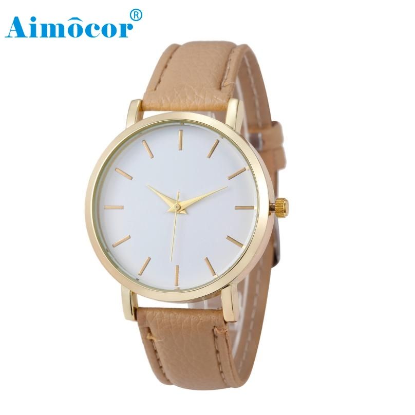 2017 Newly Designed Luxury Quartz Watch Men Women Famous Brand Gold Leather Band Wrist W ...