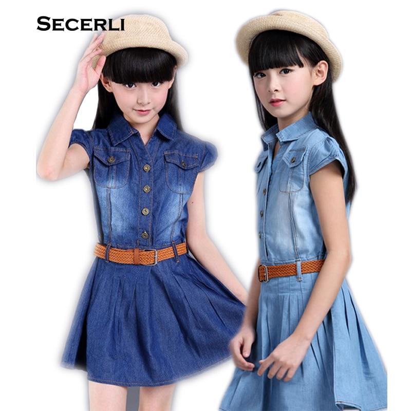 2018 Jaunas kleitas meitenēm no 3 līdz 15 gadiem Kokvilnas meitenes džinsa kleita Toddler meitenes TuTu partijas kleita pusaudžu meiteņu vasaras kleitas