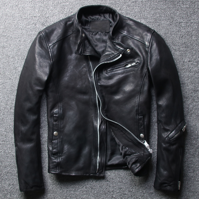 Free Shipping,Brand Mens 100% Genuine Leather Slim Jacket,classic Casual Tanning Sheepskin Jacket,cool Motor Style Jacket.