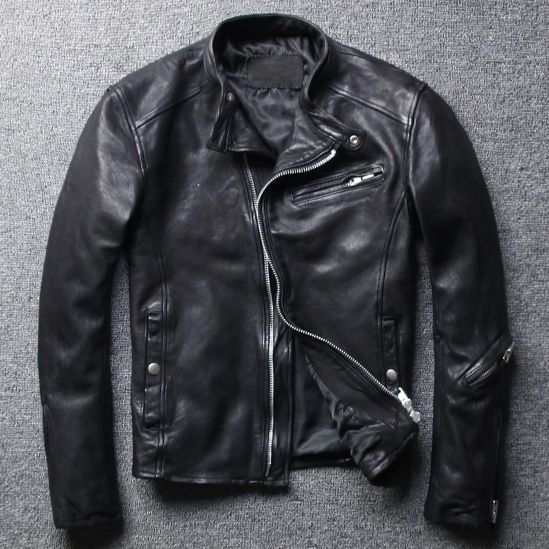 Free shipping,Brand mens 100% genuine leather slim Jacket,classic casual tanning sheepskin jacket,cool motor style jacket.