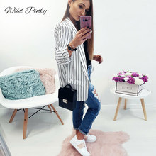 WildPinky Spring Female Blazer Jacket Black White Striped Casual Suit Long Sleeve Women Autumn Cardigan Femme