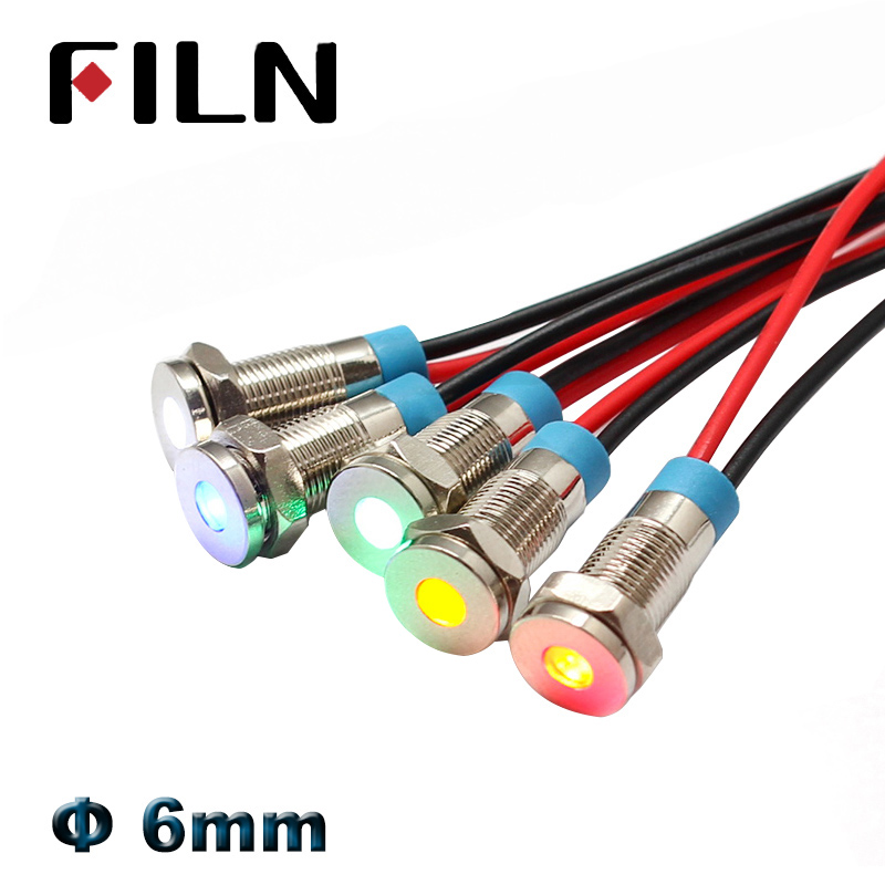FILN 6mm 12v Mini Metal LED Pilot Panel Dash Signal Indicator Warning Light 14cm Cable Chrome Finish Car Boat Marine Pilot Lamp