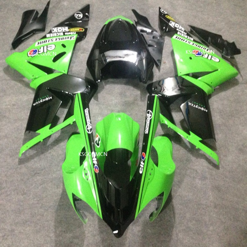 Iniezione Verde nero Carenature Per KAWASAKI NINJA ZX10R 04-05 ZX 10R 04 05 ZX10 R 2004 2005 moto kit carenatura ZX 10R