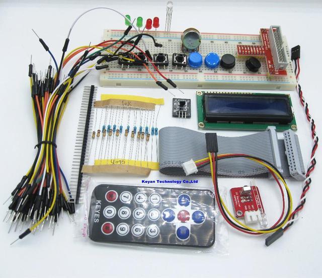 Frete grátis! Kit Raspberry PI Adaptador GPIO Placa De Ensaio 1602 LCD Cabo Do Sensor LEVOU