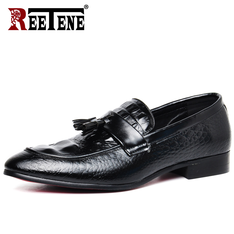 REETENE High Quality Leather Crocodile Men Loafers 2019 New Driving Casual Shoes Men Flats Plus Size Slip On Men Shoes Zapatos new fashion autumn solid color men shoes leather low slip on men flats oxford shoes for men driving shoes size 38 44 yj a0020