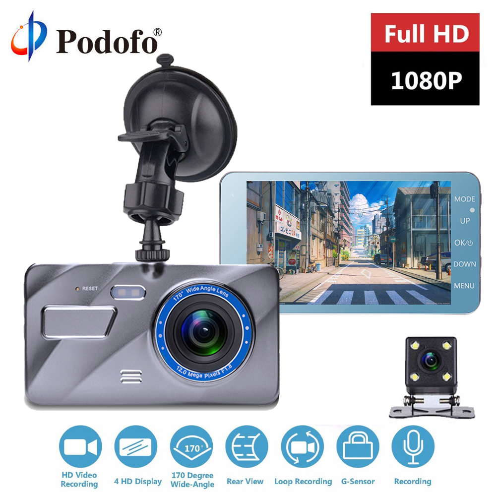Podofo Dash Cam New Dual Lens Car DVR Camera Full HD 1080P 4 IPS Front+Rear Mirror Night Vision Video Recorder Parking MonitorPodofo Dash Cam New Dual Lens Car DVR Camera Full HD 1080P 4 IPS Front+Rear Mirror Night Vision Video Recorder Parking Monitor
