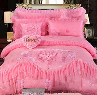 Pink/Red/Cyan Princess Wedding Lace Embroidery Cotton+Silk Bedding Set Luxury Satin Duvet Cover King Queen Size Bed Linen