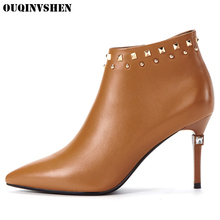 OUQINVSHEN Pointed Toe Thin Heels Super High Heels Women's Boots Casual Fashion Winter Crystal Ankle Boots Zipper Women Boots