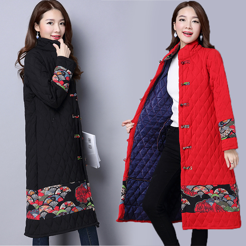 2019 Autumn Winter Vintage Jacket Long Parka Thick Cotton Padded Lining Printing Coat Ladies Women Plus Size Parkas in Parkas from Women 39 s Clothing