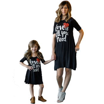 8d178c3ba Mamá y mi familia juego ropa de encaje negro vestido de las niñas vestidos  de la hija de madre Boutique ropa de niño ropa