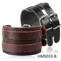 Punk exagéré bracelets en cuir mainstream large en cuir bracelet en cuir et atmosphérique Shuangkou En Cuir