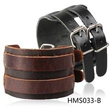 Punk exaggerated leather bracelets mainstream wide leather leather bracelet and atmospheric Shuangkou Leather