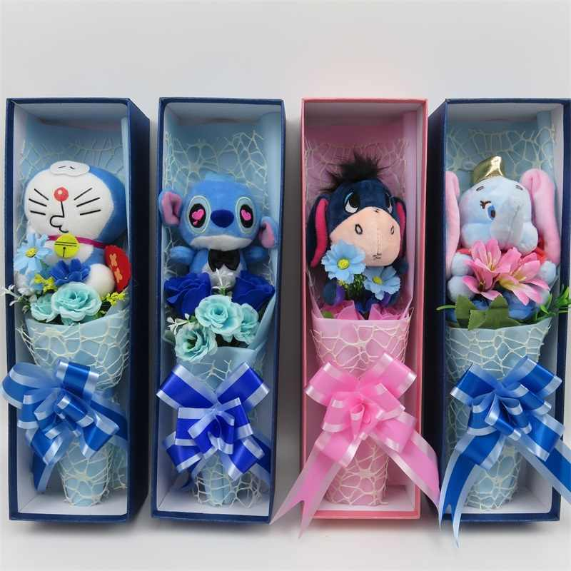 Handmade stitch doraemon dumbo with Artificial Flowers bouquet small bouquet home decoration Valentine's graduation gif